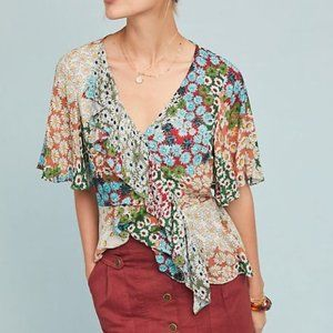 ANTHROPOLOGIE Patchwork Daisy Blouse {DD17}